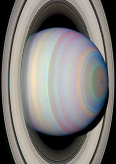 "thedemon-hauntedworld: "" The Slant on Saturn's Rings This image from NASA's Hubble Space Telescope shows Saturn's Southern Hemisphere and the southern face of its rings in Infrared light. Saturn..."