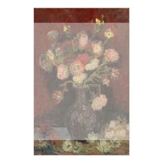 Vase with Chinese Asters and Gladioli by Van Gogh Full Color Flyer
