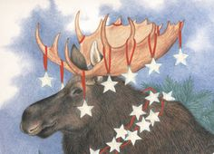Moose with a Starry Garland Christmas Holiday Card (1292454)