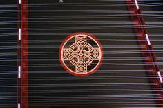 Celtic Cross sound-hole on James Jones hammered dulcimer