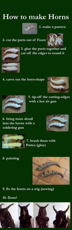 How to make Horns by Ermelyn female cosplay costume LARP fashion resource tool how to tutorial instructions | Create your own roleplaying game material w/ RPG Bard: www.rpgbard.com | Writing inspiration for Dungeons and Dragons DND D&D Pathfinder PFRPG Warhammer 40k Star Wars Shadowrun Call of Cthulhu Lord of the Rings LoTR + d20 fantasy science fiction scifi horror design | Not Trusty Sword art: click artwork for source