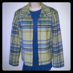 Hip Length Plaid Jacket Fully lined jacket with front zipper closure. No size tag, but it fits like a large. Good condition. Jackets & Coats