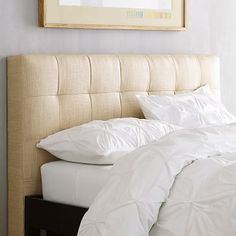 Grid-Tufted Headboard #westelm I checked the colors of this design, and they are really nice. This is a covered headboard that is not too high on the wall.