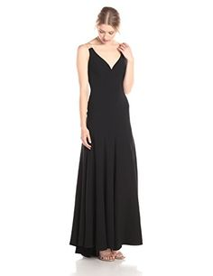 Vera Wang Womens Sleeveless V Neck with Organza Back Long Dress Black 6 * Check out this great product.