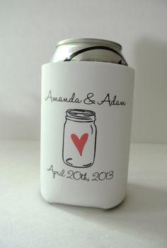 Mason Jar Wedding Favor Can Coolers  by yourethatgirldesigns, $108.00