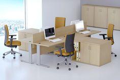 Biurka i szafy systemu tanich mebli Economic umożliwiają ergonomiczne wyposażenie biura i tworzenie rozmaitych stanowisk pracowniczych.