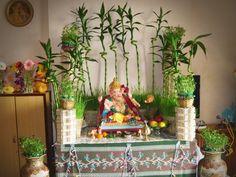 Flower Decoration For Ganpati, Eco Friendly Ganpati Decoration, Ganpati Decoration Design, Flower Decorations, Wedding Decorations, House Decorations, Mandir Decoration, Ganapati Decoration, Ikea Hacks