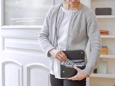 Smartphone bag Black opened - LOST & FOUND accessoires Lost & Found, Pouches, Leather Bag, Smartphone, Sweaters, Bags, Collection, Fashion, Purses