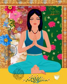 #Yoga in the garden #yoga #yogaillustration