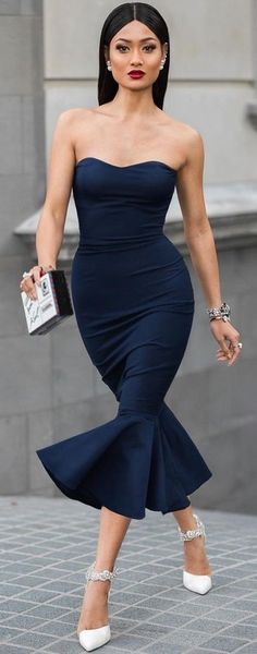 Navy Strapless Gown, White Pumps | Micah Gianneli