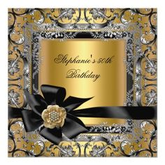 50th Birthday Party Gold Silver Black Bow Custom Invites Centerpieces
