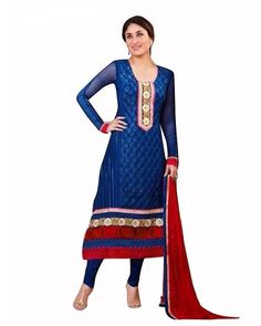 multi silk sarees: Blue Georgette Embroidered Designer Bollywood Salwar Suit