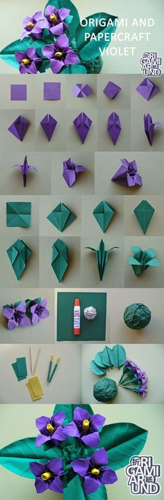 "origamiaround: "" Origami and papercraft violet. My older post about how I make leaves (I'm planning to make a more detailed version someday). Made this yellow one almost the same way. """
