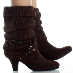 Brown-Suede Knit Trim Studded Winter Womens High Heel Mid Calf Boots