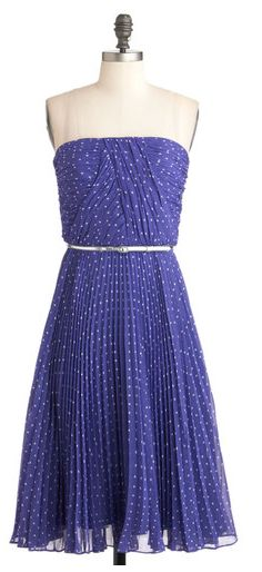 Blue polka dot bridesmaid dress