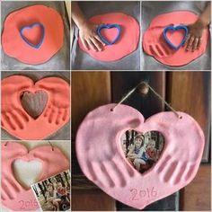 This Salt Dough Hands and Photo Heart Keepsake is Lovely 1