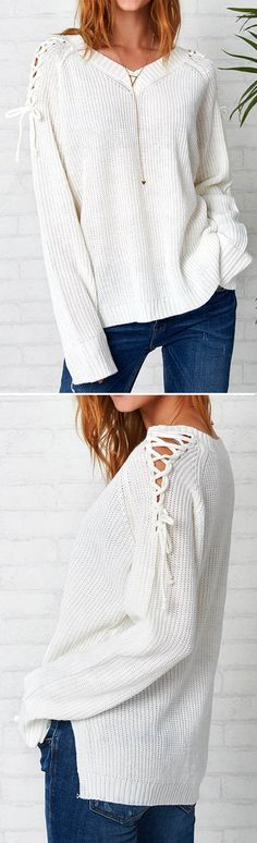 How about this lace-up sweater-$23.99 Only with free shipping? Look! It is detailed v-neck design&slits at sides as well. Do not let it slip away Now at Cupshe.com