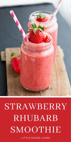 Rhubarb Smoothie Recipe and All About Harvesting Rhubarb Yogurt Smoothies, Apple Smoothies, Breakfast Smoothies, Breakfast Time, Healthy Smoothies, Healthy Drinks, Healthy Eats, Breakfast Recipes, Chocolate Strawberry Smoothie