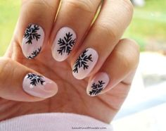 Black Snowflake Nail Art Design