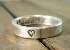 Recycled Silver J'Adore Secret Message Ring - I love you Ring