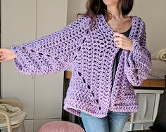 """If you've never crocheted a """"hexagon cardigan"""" before, you are in for a treat. This might just be my new favorite way to crochet cardigans! Two hexagons, crocheted just like a 6 sided, solid, granny square form both the body and sleeves of this cardigan at the same time. Done in super bulky yarn for instant gratification and methodical sleeve decreases to make this chunky project an every day, wearable piece. A free pattern available on my blog!"""
