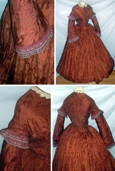 Silk brocade dress ca. 1860s. Fabric has large leaf & tiny floral spray pattern. Bodice has pagoda-style sleeves & short cap over-sleeve. Both trimmed with 2 rows of brown & black silk ribbon. Piped neck, waist, & armscyes. Lace collar; lined with tan linen, has front hook & eye closure. Outer silk has front button closure. Skirt attached to waist with cartridge pleats. Unlined. fiddybeer/ebay