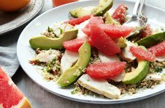 Pink grapefruit, chicken, avocado & walnut salad: Ingredients 75g (3oz) quinoa or couscous 2 tbsp toasted pecans, chopped 2 tbsp chopped flat-leaf parsley 2 tbsp chopped coriander 2 chicken breasts 3 tbsp extra-virgin olive oil 1 pink grapefruit, segemented  1 lemon, zested and juiced 1 tbsp clear honey 1 avocado, thickly sliced
