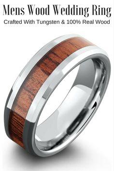 8mm koa wood ring with polished beveled edges unique mens wedding bandswood - Koa Wood Wedding Rings