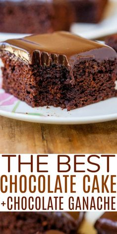 The BEST EVER Homemade Chocolate Cake with Ganache Frosting — This truly is the best homemade chocolate cake, EVER. It's topped with a smooth chocolate ganache frosting, requires just 10 minutes of hands-on prep, and it's a no-mixer recipe!