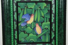 Hand Painted Framed Original Signed art on Canvas Unique Nature Birds Tropical  Custom Frame By Dominique Rice  @Asmatcollection on Bonanza.com