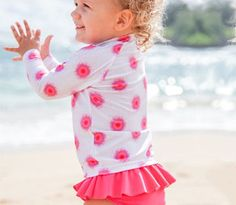 """Graffiti Splash"" - Long Sleeve Girl Rash Guard Swimsuit Set - SPF | SwimZip Rash Guard Swimwear"