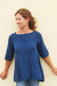 Diane Soucy for Knitting Pure and Simple 128 Top Down Trapeze Pullover Handgestrickte Pullover, Pullover Sweaters, Tunic Pattern, Free Pattern, Sweater Knitting Patterns, Free Knitting Patterns For Women, Knitting Sweaters, How To Purl Knit, Knit Or Crochet