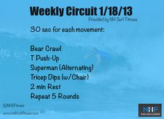 Happy Friday all – today we have an upper body circuit. Remember to do a little warm-up to get the body loose, activate muscles, and increase blood flow. Then it's time to sweat. Enjoy. -- NHF Weekly Workout. Short. Sweet. No gym. Effective.
