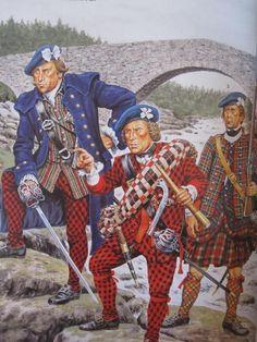 Francis Farquharson with Maj. David Tulloch & a soldier of John Gordon of Avochie's Battalion Jacobite Rebellion) European History, British History, Military Art, Military History, Highlands Warrior, Scottish Clothing, Scottish Warrior, Civil War Art, British