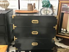 """Dixie Campaign Three Drawer Chest   30"""" Wide x 18"""" Deep x 30"""" High   $185  Dealer #6921  Top Drawer Antiques & Mid Mod Shop  10622 E. Northwest Hwy. Dallas, TX 75238"""