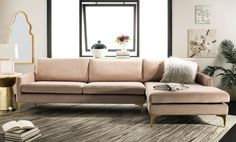 Safavieh Couture Brayson Chaise Sectional Sofa - Pale Mauve - x x x x Pink Sofa Pillows, Sectional Sofa, Couch, Sofas, Throw Pillows, Sofa Furniture, Cheap Furniture, Furniture Movers, Outdoor Furniture