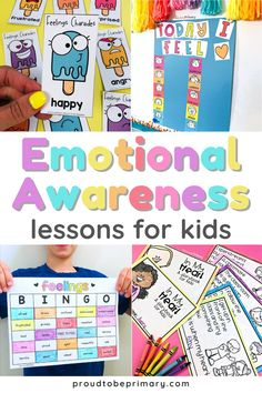 This emotional awareness book companion resource for kindergarten, first grade, and second grade teachers covers 5 popular childrens books on feelings and emotions (The Color Monster; The Feelings Book; Glad Monster, Sad Monster; F is for Feelings; In My Heart). Each mentor text comes with ideas for classroom discussions and book chats, a lesson plan, anchor chart, writing templates, and fun activities (printable + digital). Great for distance learning and remote teaching of emotional skills! Feelings Games, Emotions Game, Teaching Emotions, Feelings Activities, Learning Games For Kids, Preschool Learning Activities, Teaching Ideas, Social Emotional Activities, Social Emotional Development