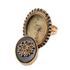 Victorian Gold and Onyx Snuff or Poison Ring | From a unique collection of vintage fashion rings at https://www.1stdibs.com/jewelry/rings/fashion-rings/