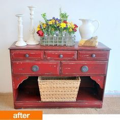 """Sausha has transformed a variety of forgotten furniture into beautiful custom pieces. She embraces the little imperfections in each piece, uncovering something new and unique in every item she refinishes. If you're interested in learning about her techniques, she blogs about her """"furniture re-do's"""" on Sweet Pickins, incorporating progress photos and tutorials for a range of projects."""