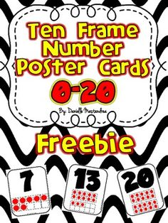 FREEBIE-  Ten Frame Number Poster Cards- Numbers 0-20  Visit my blog and Facebook page for Freebies & More!  Krazee4Kindergarten Blog Krazee4Kindergarten Facebook Page Follow on Pinterest