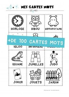 108 cartes mots - lecture et écriture à la Maternelle
