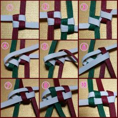 丸ダブル四つ畳リースの作り方♪   クラフトバックmi-mi Ribbon Lei, Ribbon Crafts, Paper Crafts, Weaving Textiles, Weaving Art, Diy And Crafts, Arts And Crafts, Plastic Canvas Stitches, Weaving Designs