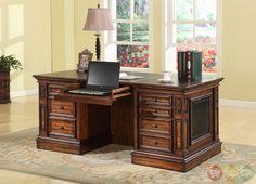 Parker House Leonardo Traditional Double Pedestal Executive Desk w/ Leather Top LEO#480-3