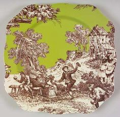 Brown & green toile plate. Pattern: FAMILLE A TABLE by ROSANNA CHINA