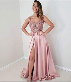 Pink Long Prom Dresses satin Evening Dresses A-Line Formal Dresses CR 5949 Best Formal Dresses, Prom Dresses Long Pink, Short Dresses, Bridesmaid Dresses, Wedding Dresses, Blush Pink Long Dress, Classy Evening Gowns, Evening Dresses, Pink Lace Tops
