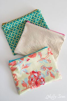 Cute Assortment - How to Sew a Zipper Pouch - 15 minute sewing project - Melly Sews