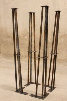 Discover thousands of images about Metal Table Legs 28 Set of 4 Legs ReBar by nakedMETALstudio Industrial Table Legs, Industrial Furniture, Metal Legs For Table, Industrial Stairs, Industrial Closet, Industrial Cafe, Industrial Restaurant, Industrial Apartment, Industrial Bedroom