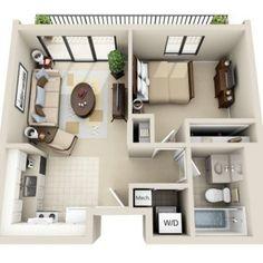 1 Bedroom Apartment Floor Plans 3d