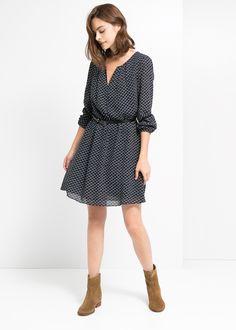 Belt printed dress