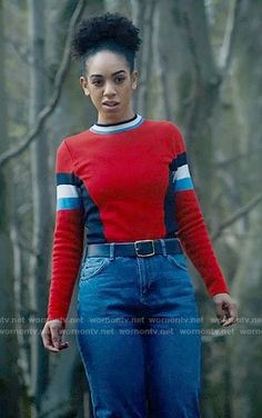 Bill's red colorblock sweater on Doctor Who. Outfit Details: https://wornontv.net/72773/ #DoctorWho